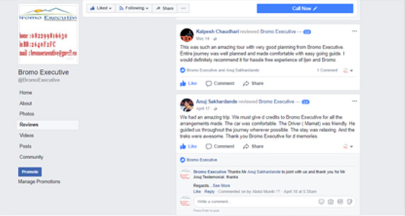 User reviews on facebook for bromo executive