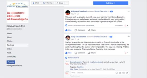 User reviews on facebook for bromo executive