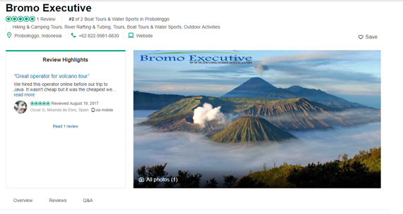 User reviews on TripAdvisor for bromo executive